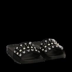 Zeppe nere in raso con perle e strass, Primadonna, 112028218RSNERO035, 002a