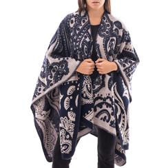 Poncho blu con stampa paisley in tessuto , Abbigliamento, 14B400003TSBLUE3XL, 001a