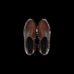 Chelsea Boots in vera pelle colore cuoio, tacco medio 6 cm, Scarpe, 127711422PECUOI, 004 preview