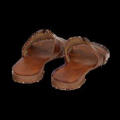 Ciabatte cuoio in pelle di vacchetta, Scarpe, 157245049VACUOI036, 004 preview