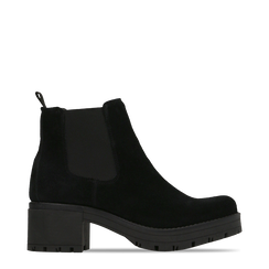 Chelsea Boots neri in vero camoscio, tacco medio 5,5 cm, 127723509CMNERO038, 001a