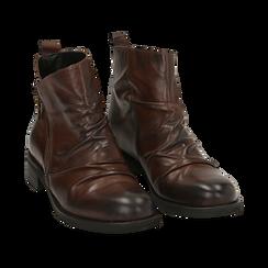 Biker boots marroni in pelle di vitello drappeggiata, Stivaletti, 14A919608VICUOI035, 002 preview