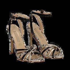 Sandali multilistino neri in eco-pelle effetto snake skin, tacco 11 cm, Scarpe, 132120686PTNERO035, 002a