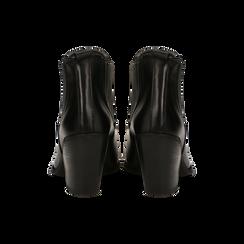 Stivaletti Camperos neri in vera pelle con banda elastica, tacco 8,5 cm, Primadonna, 128900400VINERO036, 003 preview