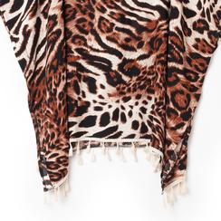 Poncho leopard marrone in tessuto , Abbigliamento, 13B445069TSLEMAUNI, 002a