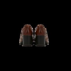 Francesine stringate in vera pelle color cuoio, tacco medio, Primadonna, 127711405PECUOI, 003 preview