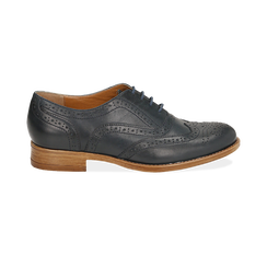 Oxford de piel en color azul marino, Zapatos, 159908418PEBLUE036, 001 preview