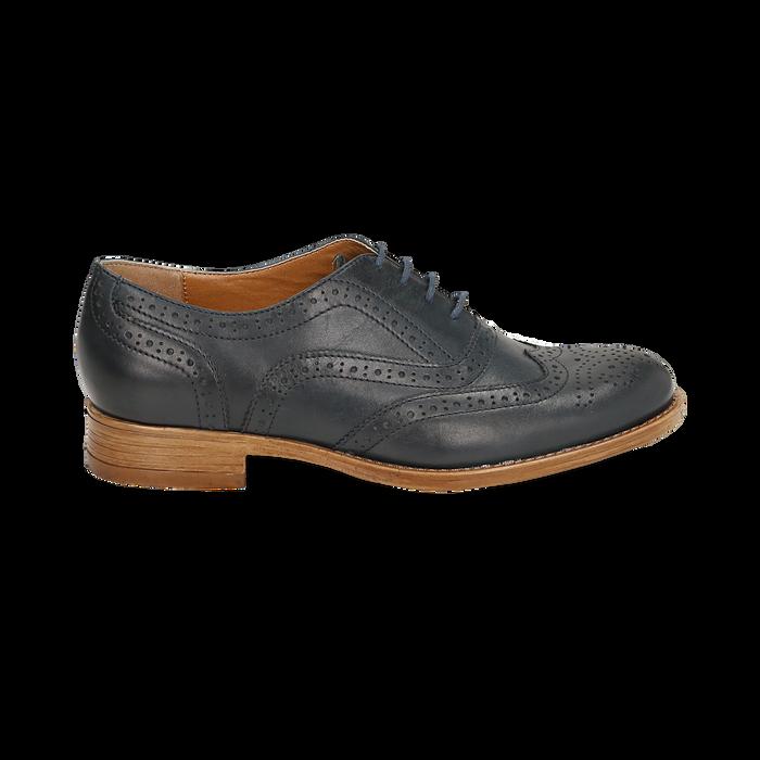 Derbies bleu en cuir, Chaussures, 159908418PEBLUE036
