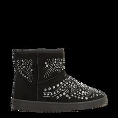 Scarponcini invernali neri con mini borchie, Scarpe, 12A880115MFNERO036, 001a