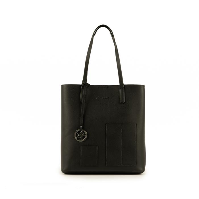 Shopper nera in eco-pelle, Primadonna, 153782784EPNEROUNI