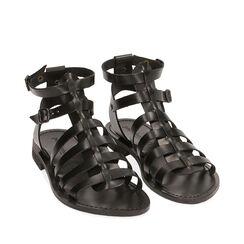 Sandales noir en cuir de vache, Primadonna, 178100803VANERO035, 002a