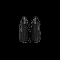 Décolleté nere con plateau, tacco quadrato 13,5 cm, Scarpe, 122103011EPNERO, 003 preview