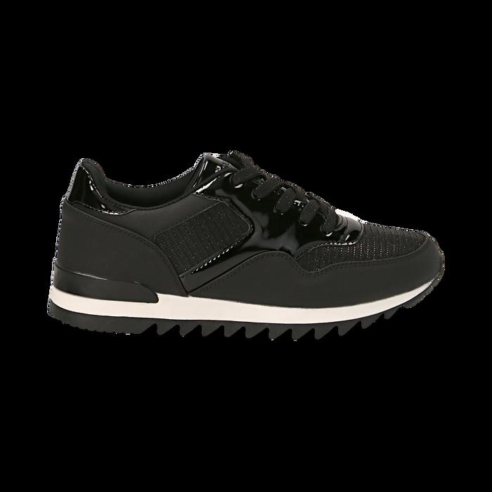 Sneakers nere in tessuto laminato e dettagli mirror, Scarpe, 130100107LMNERO037