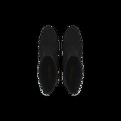Tronchetti neri scamosciati, tacco 7,5 cm, Scarpe, 122115991MFNERO, 004 preview
