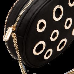 Tracollina nera in microfibra con oblò dorati, Saldi, 123308609MFNEROUNI, 004 preview