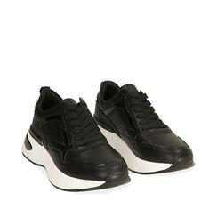 Sneakers nere, zeppa 5 cm , Primadonna, 182812426EPNERO035, 002a