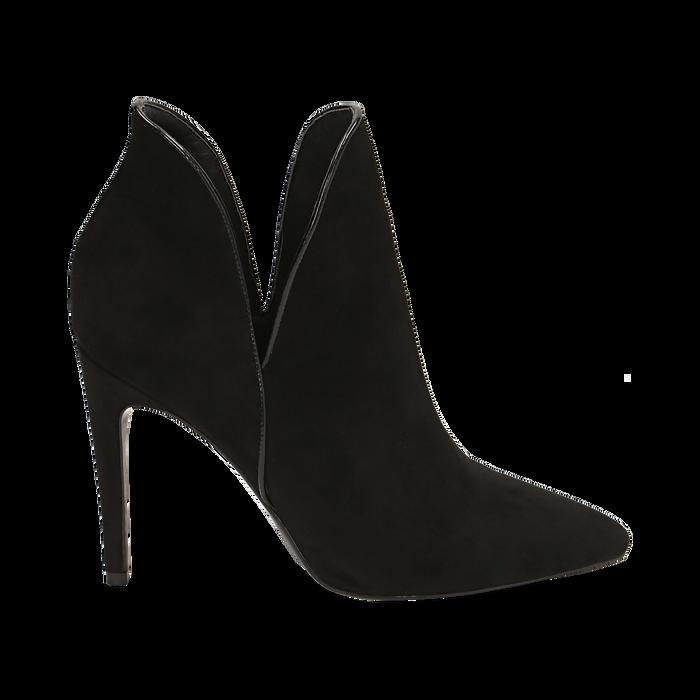 Ankle boots neri in microfibra, tacco 10,50 cm , Primadonna, 162123720MFNERO035