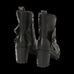 Biker boots neri in eco-pelle, tacco 8 cm , Scarpe, 140637855EPNERO, 004 preview