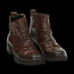 Biker boots neri in pelle di vitello drappeggiata, Stivaletti, 14A919608VICUOI035, 002a