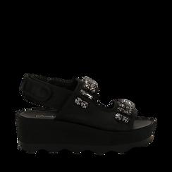 Sandali platform neri in raso con cristalli, zeppa 5,5 cm , Primadonna, 119909492RSNERO037, 001a