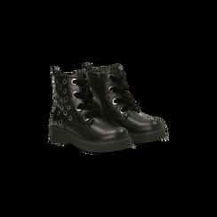 Anfibi neri con dettagli metal, tacco basso, Scarpe, 120639026EPNERO036, 002