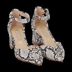 Décolleté en eco-piel con estampado de serpiente en blanco/negro con tira, tacón 6,50 cm, Zapatos, 152182391PTBINE036, 002 preview