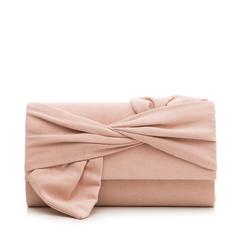 Pochette rosa nude in microfibra con fiocco, Borse, 132300508MFNUDEUNI, 001a