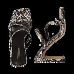 Sandali con punta quadrata nero/bianchi in eco-pelle, effetto snake skin, tacco 10 cm, Sandali con tacco, 131785322PTNEBI035, 003 preview