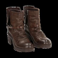 Biker boots marroni in eco-pelle, tacco 5 cm , Stivaletti, 140736661EPMARR, 002 preview