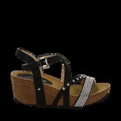 Sandali neri in eco-pelle con strass, zeppa in sughero 6 cm , Primadonna, 117646314EPNERO035, 001a