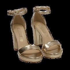 Sandali oro in eco-pelle laminata, tacco 9,5 cm, Scarpe, 152185825LMOROG035, 002a