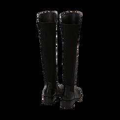 Overknee neri in eco-pelle, tacco 4 cm , Stivali, 143025001EPNERO036, 003 preview