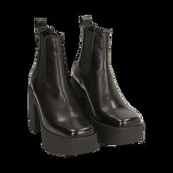 Ankle boots con plateau neri in pelle di vitello, tacco 11 cm , Primadonna, 160202020VINERO040, 002 preview