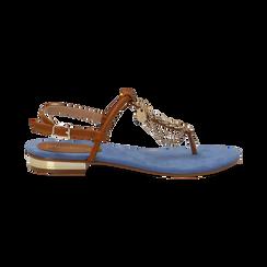 Sandali infradito flat azzurri in microfibra con catenelle, Scarpe, 134909952MFAZZU036, 001 preview