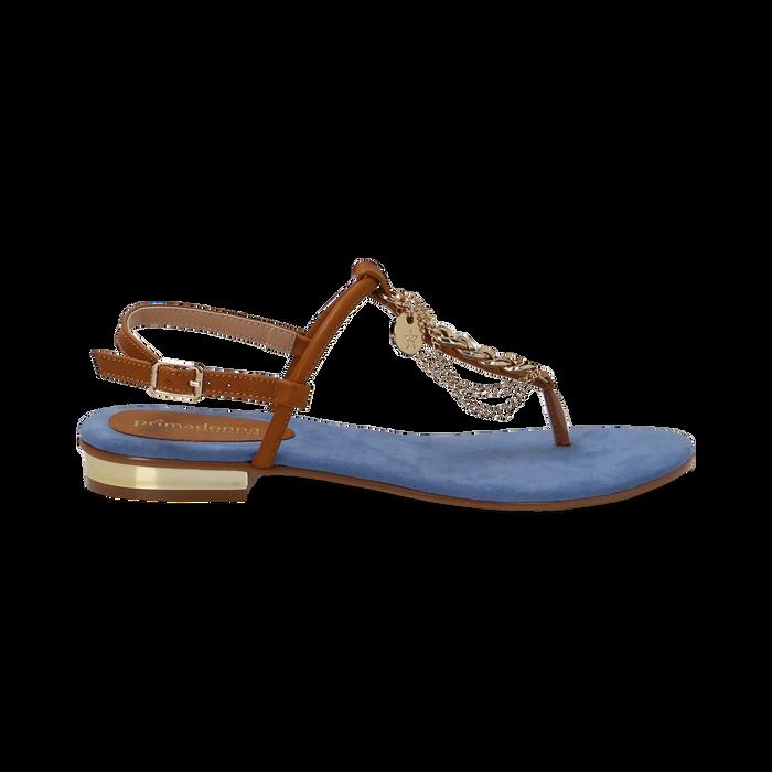 Sandali infradito flat azzurri in microfibra con catenelle, Scarpe, 134909952MFAZZU036
