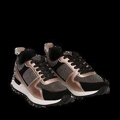 Sneakers oro rosa glitter con dettagli in eco-pelle, Scarpe, 14D814301GLRAOR035, 002a