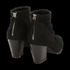 Ankle boots neri in microfibra, tacco 7,50 cm, Promozioni, 160598311MFNERO036, 004 preview