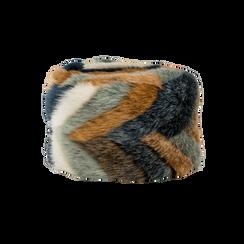 Colbacco multicolore/blu in eco-pelliccia, Saldi Abbigliamento, 12B413001FUBLUE, 001 preview