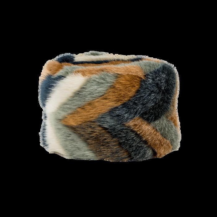 Colbacco multicolore/blu in eco-pelliccia, Saldi Abbigliamento, 12B413001FUBLUE