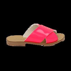 Mules flat fucsia in vernice fluo, Saldi Estivi, 136767002VEFUCS036, 001 preview