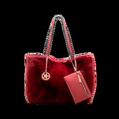 Borsa shopper bordeaux in pelliccia con pochette e portamonete, Borse, 125702076FUBORDUNI, 001 preview
