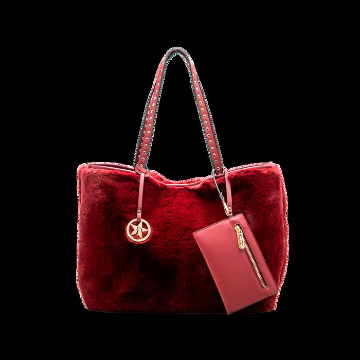 Borsa shopper bordeaux in pelliccia con pochette e portamonete, Borse, 125702076FUBORDUNI