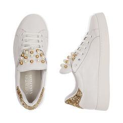 Sneakers bianche in pelle con glitter oro, Primadonna, 17L600400PEBIOR035, 003 preview