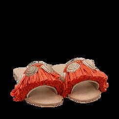 Ciabatte arancio in rafia con conchiglie, Scarpe, 15K904426RFARAN036, 002a