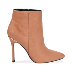 Ankle boots nude in microfibra, tacco 10,5 cm , Scarpe, 142168616MFNUDE035, 001 preview