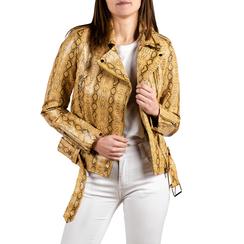 Biker jacket gialla stampa cocco, Abbigliamento, 156501164CCGIAL, 001 preview