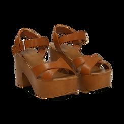 Sandali cuoio in eco-pelle, tacco 9 cm , Primadonna, 134987035EPCUOI037, 002 preview