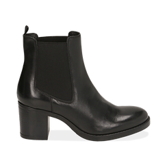 Ankle boots neri in pelle di vitello, tacco 6,50 cm , Primadonna, 16D808226VINERO035, 001 preview
