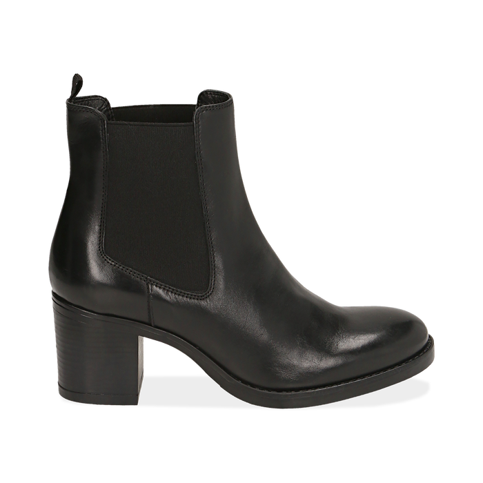 Ankle boots neri in pelle di vitello, tacco 6,50 cm , Primadonna, 16D808226VINERO036