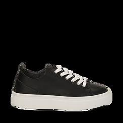 Sneakers nere in eco-pelle, Scarpe, 132500778EPNERO035, 001a